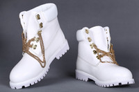 Wholesale New Mens White Snow Boots With Gold Chains Men Women Genuine Leather Waterproof Outdoor work Boots Brand Hiking Shoes Leisure Ankle Boots
