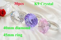 Wholesale 30pcs mm Crystal Diamond With mm Ring Crystal Diamond Ring Wedding Restaurant Napkin Ring Mixed Colors