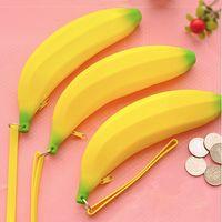 Cheap Wholesale-1Pcs Novelty Silicone banana pencil case Yellow Color kawaii pencil bag coin purse school supplies stationery Free Shipping