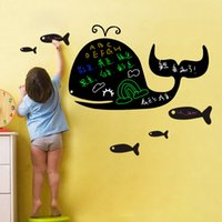Wholesale Creative green removable wall stickers nursery children s room backdrop stickers affixed blackboard whale