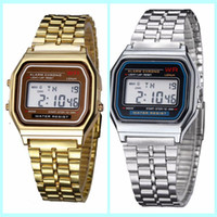 Wholesale F W Metal watch Electronic watches LED watch ultra thin wrist watch Gold Silver Wristband Led Sports Watches Free ship