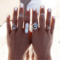 Wholesale 6pcs Silver Boho Women Stack Plain Above Knuckle Ring Midi Finger Tip Rings Set