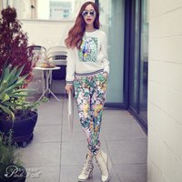 Wholesale Pink Doll Autumn Women Fashion Casual Slim Trousers Printing Legging Elastic Waist Harem Pants