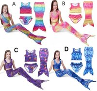 Wholesale 2016 Latest Kids Girls Mermaid Tail Swimmable Bikini Set Swimwear Swimsuit Swimming Clothes