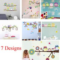 baby owl art - 100pcs ZY1020 A B owls wall stickers kids bedroom decorations animals cartoon home decals mural art baby children