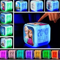Wholesale New Arrival Hot sale Frozen Cartoon Colorful LED Flash Alarm Clock For KIDS Gift with retail box with USB