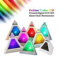 Wholesale Digital Home Travel LCD Snooze Alarm Clock Pyramid Color LED Calendar C F Thermometer