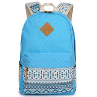 Wholesale Women fashion backpack canvas dot print travel laptop back pack leisure sports shoulder bag day packs colors