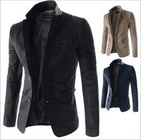 Wholesale New Arrival two Button Leisure Blazers Men Male Fashion Slim Fit Casual Suit Suede Fabric Blazer Dress Clothing