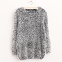 acrylic mohair - Women Fashion Autumn Winter Warm Mohair O Neck Women Pullover Long Sleeve Casual Loose Sweater Knitted Tops