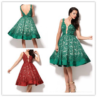 Wholesale Dark Green Prom Dresses Short Knee length Lace Party Gown A line V shape Back Sleeveless Evening Dress Dark Red Arabic Gown