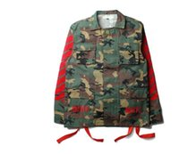 badge jacket - New arrive fashion brand men kanye west Off White jacket camouflage red stripe off white badge windbreaker