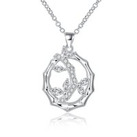 bamboo copper chain - New Fashion Luxury Silver Plated Bamboo Pendant CZ Zircon Crystal Necklace Jewelry Gift For Women Romantic style LKNSPCN817