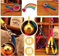 Wholesale Portable Pet Dog Leashes Multicolor Traction Rope chain Adjustable rainbow colored Harness nylon Rope Chest Strap Dog Traction Rope B1013