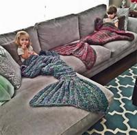 Wholesale Kids Knitted Mermaid Tail Blankets Handmade Soft Warm Wearable Children Sleeping Bags Cartoon Costume Air Condition Blanket