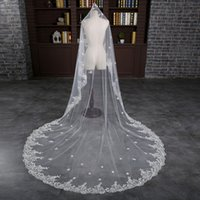 amazing head - In Stock Newest Amazing Meters White Ivory Cathedral Bridal Veils Appliques Lace Edge Wedding Veil Head Veils
