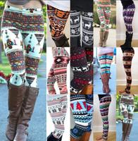 Wholesale Women Snowflake Leggings Skinny Xmas Snowflake Reindeer Slim Pencil Pants Floral Print Leggings Elastic Tights Xmas Pants Trousers KKA942