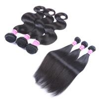 al por mayor bundles-Pelo brasileño teje MAYOR 7A bruto mechones de cabello humano de la armadura del pelo envío libre de DHL de la onda del cuerpo o las extensiones del pelo recto