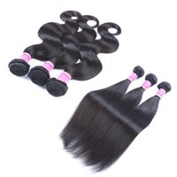 Wholesale Brazilian Hair Weaves A Unprocessed Hair Bundles Human Hair Weave DHL Body Wave Or Straight Hair Extensions