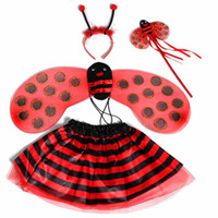 Precio de Pequeñas faldas de los niños-La venta al por mayor del juego del traje de la mariquita de los cabritos fijó el envío libre de la gota, EH129