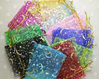 Wholesale wholesale200pcs mixed colour gold Star Moon Pattern Organza Bags x9cm cm Wedding Favour Gift bag Jewellery pouches
