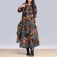 asymmetrical hem dress - Winter Dress Plus Size Casual Vintage Dress Irregular Hem Full Dress Long Sleeve O Neck Linen Maxi Dress Floral Print Dress