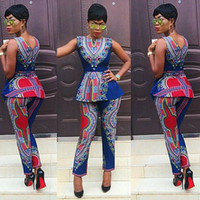 Wholesale 2016 New Arrival African Dashiki Women Suits Two Piece Set African National Clothes Print Totem Slim Skinny African Women Clothing