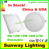 Wholesale Dimmable LED Downlights Recessed LED Ceiling lights W W W W W Round Square LED Panel Light Lighting Lamp warm nature cool white