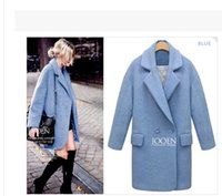 Wholesale 2016 winter new arrival women thick woolen jacket girls coat Wool coat lapel Pink Blue White Plus size coats woman