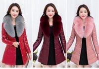 alpaca fiber - 2016 New Warm Alpaca Fiber PU Jacket Thicken Fur Collar Winter Coat Women Slim Women Winter Jacket Plus Size Winter Parka M XL colors