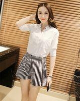 Wholesale summer new Korean striped shorts elastic waist shorts big yards wide leg casual beach shorts
