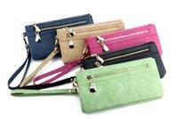 Portefeuilles de femmes de mode Dull Portefeuille en cuir polonais Double Zipper Clutches Bag Purse Couleurs par DHL
