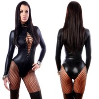 Wholesale new Hot Sexy Lady Black Leather Latex Catsuits Low Cut With Zipper Open Crotch Elastic Wetlook PU Leotard Bodysuit Bar Clubwear