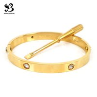 Wholesale Classic Brand K Gold Plated L Stainless Steel Screw Bangle with Screwdriver and Brand Original Box SB00040