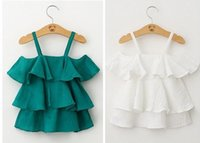 Wholesale white green Summer sleeveless Baby Girl ruffles cake layers Dress shirt Children princess Party Dress Kids Clothes