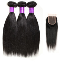cheap black hair - Grade A Peruvian Virgin Hair Straight With Closure Top Lace Closure Hair Cheap Straight Human Hair Weave Bundles Natural Color B