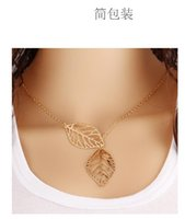 base metal chains - European and American fashion jewelry simple Tucson based metal leaf double leaf joker short amount ossicular chain