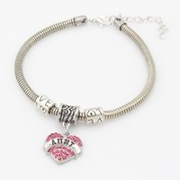 america box set - Burst models in Europe and America wish Mother s Day jewelry alloy diamond bracelet affection letter love peach Heart Bracelet