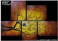 asian wall decorations - Asian Zen Tree Bird Painting Blossom Art Large Texture Wall Decoration Art Oil Paintings On Canvas Restaurant Background