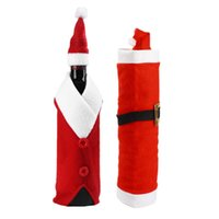 Wholesale Santa Claus Red Wine Bottle Cover Bags Christmas Table Dinner Decoration High grade lint V collar and belt red bag gift bag