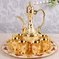 Wholesale Russian Choi tin wine kit high quality thick wine sets only large yellow wine cup pot