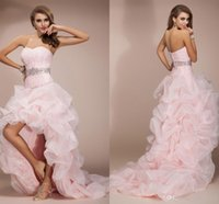 beaded robe - Pearl Pink High Low Prom Dresses Organza Ruffle Beaded Party Dresses Backless Plus Size Formal Dresses Homecoming Dresses Robe De Soire