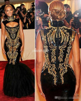 beyonce dark - Sexy Evening Gowns Beyonce Gala Black And Gold Embroidery Beaded High Neck Floor Length Mermaid Celebrity Dresses Plus Size Prom Dress