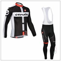 Wholesale 2015 Cervelo Team Cycling Clothing Roupa Ciclismo Long Sleeve Autumn Breathable Bicycle Clothes GEL Pad MTB Bike Bib Pants