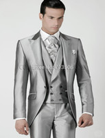Wholesale Mens Wedding Suits Silver Prom Groom Tuxedos Jacket Pants Vest Custom Made Wedding Suits For Men Groomsmen Suits Bridegroom