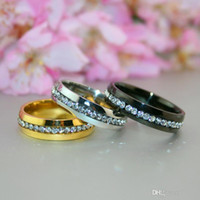 beauty hands bands - 2016 New Unisex Classic Zircon Crystal Stainless Steel Ring Wedding Band Engagement Lover Gift Decoration Beauty Hand Jewelry