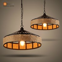 iron wicker rattan - Vintage Iron Wicker Hemp Rope Pendant Lights Rattan Pendant lamp Edison Bulbs w E27