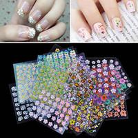 Wholesale New Set D Mix Color Floral Design Nail Art Stickers Decals Manicure Beautiful Fashion Accessories Decoration set