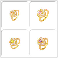 Wholesale Luxury Simulated Diamond AAA CZ For Women Christmas Gift K Gold Plated Rings High Quality Fashion With Jewelry Hot Sales