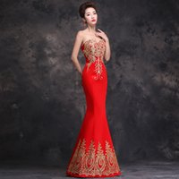 big picture china - China wind big red bride wedding dress embroidered dress sexy long thin tail L347